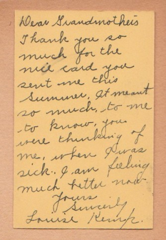 Louise Kemp Note to Grandmothers