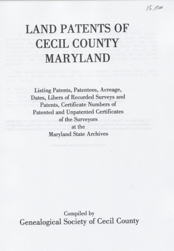 cecil pcover land patents of cecil county