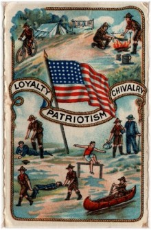 Copy of 1920 Boy Scouts card flag outside whole
