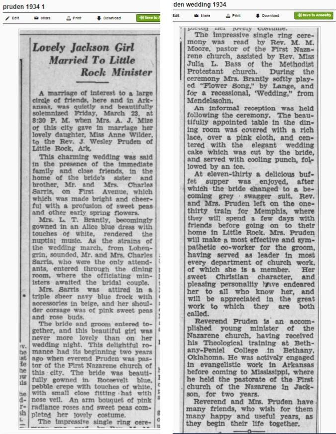 pruden 1934 wedding